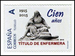 Sello de correos conmemorativo del centenario del Título de Enfermera en España