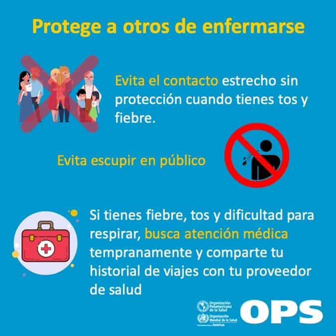 Cómo proteger a los demás si estás enfermo o das positivo en coronavirus. Fuente: OPS (Organización Panamericana de Salud)
