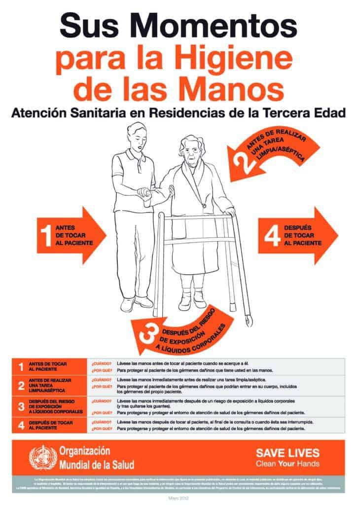 Guía de la OMS (Organización Mundial de la Salud) sobre higiene de manos en Atención Sanitaria en Residencias de la Tercera Edad y cuidado de personas mayores