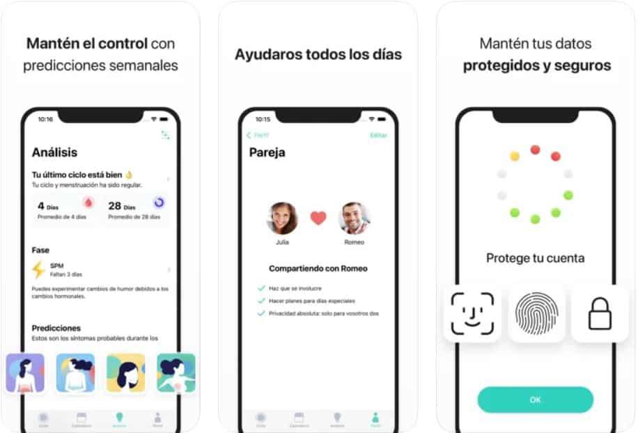 Captura funcionalidades de Cycles, la app de control del ciclo menstrual para conocer los días fértiles de una mujer